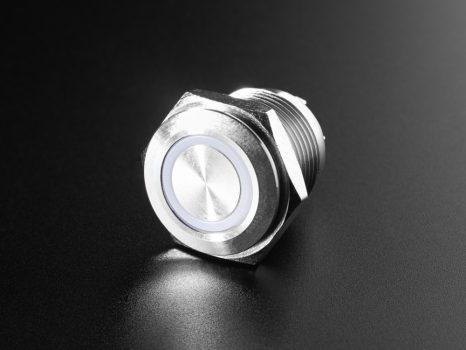 Fém nyomógomb világító RGB LED gyűrűvel - Vízálló 16mm 6V RGB