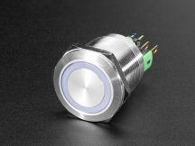 Fém nyomógomb világító RGB LED gyűrűvel - Vízálló 22mm 6V RGB