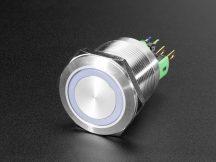 Fém ON/OFF kapcsoló világító RGB LED gyűrűvel - Vízálló 22mm 6V RGB On/Off