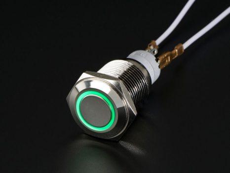 Fém ON/OFF kapcsoló világító zöld LED gyűrűvel - Vízálló