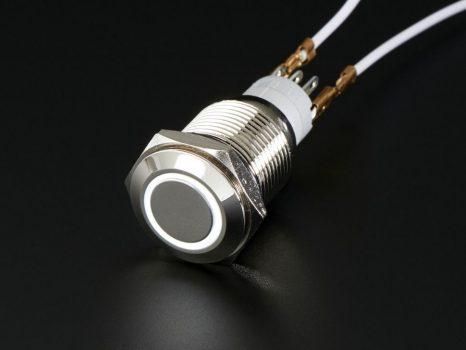Fém nyomógomb világító fehér LED gyűrűvel - Vízálló