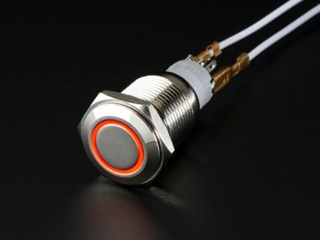 Fém nyomógomb világító piros LED gyűrűvel - Vízálló