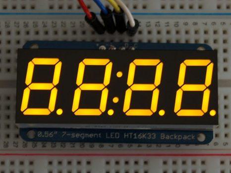 """Adafruit 0.56"""" 4-Digit 7-Segment Display w/I2C Backpack - Sárga"""