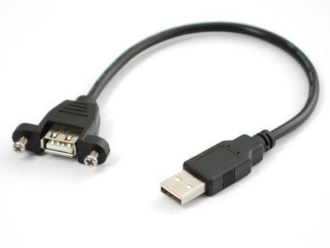 Beépíthető USB A Male - A Female kábel - 23cm