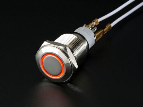 Fém ON/OFF kapcsoló világító piros LED gyűrűvel - Vízálló