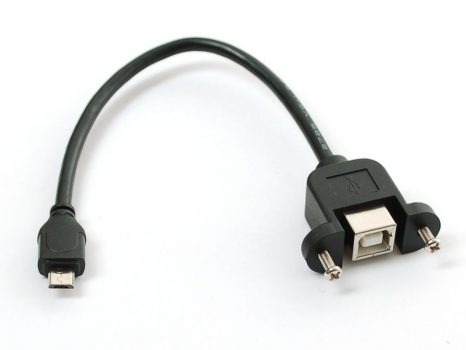 Beépíthető USB B Male - microUSB Female kábel - 23cm