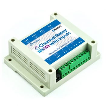 TSIR04B 4 csatornás Bluetooth relémodul 12V - DS18B20 támogatással - 4 kimenet + 4 optikailag leválasztott bemenet  DIN Házban