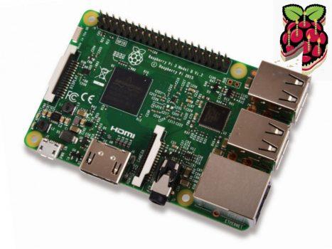 Raspberry Pi 3 Model B 64bit 1.2GHz Quad-Core  beépített Bluetooth4.1 és 802.11 b/g/n WIFI