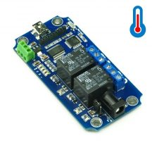 TOSR02-T  2 csatornás USB/Wireless relémodul - max 10A 250VAC - DS18B20 hőmérő támogatással