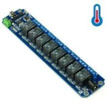 TOSR08-T 8 csatornás USB/Wireless relémodul - max 10A 250VAC - DS18B20 hőmérő támogatással