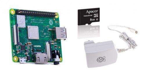 Raspberry PI3 A+ / 5.1V 2.A Hivatalos táp / 8GB Industrial SD