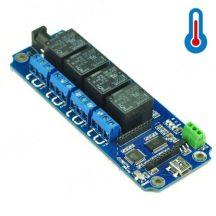 TOSR04-T  4 csatornás USB/Wireless relémodul - max 10A 250VAC - DS18B20 hőmérő támogatással