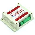 TSIR04B 4 csatornás WIFI relémodul 12V - DS18B20 támogatással - 4 kimenet + 4 optikailag leválasztott bemenet  DIN Házban