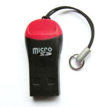 USB 2.0 MicroSD kártyaolvasó / író - fekete/piros