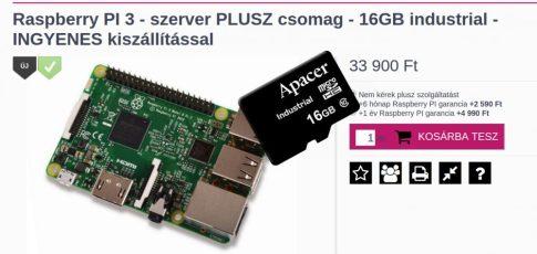Raspberry PI 3 - szerver PLUSZ csomag - 16GB industrial - INGYENES kiszállítással