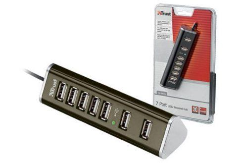 7 portos aktív USB Hub Raspberry PI-hez. 5V 2A-es tápegységgel