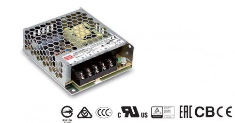LRS-50-5 Beépíthető ipari kapcsolóüzemű tápegység - impulzusos; modul; 50W; 5VDC; 99x82x30mm; 4,5÷5,5VDC; 10A