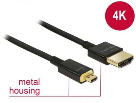 Prémium minőségű Delock HDMI-kábel Ethernettel - HDMI-A-dugó > HDMI Micro-D-dugó, 3D, 4K@60fps, 1 m, vékony Raspberry PI 4-hez