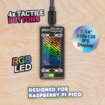 PICO DISPLAY - 240×135 Pixel, 18 bit, IPS , 4 nyomógombbal , RGB LED-del