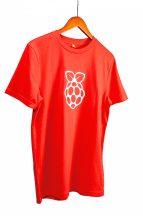 Piros pamut póló Raspberry PI logóval - L méret