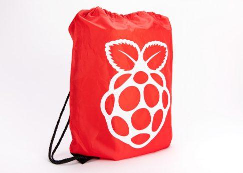 Zsinóros Hátizsák - Piros, Raspberry PI logóval, kb. 10L