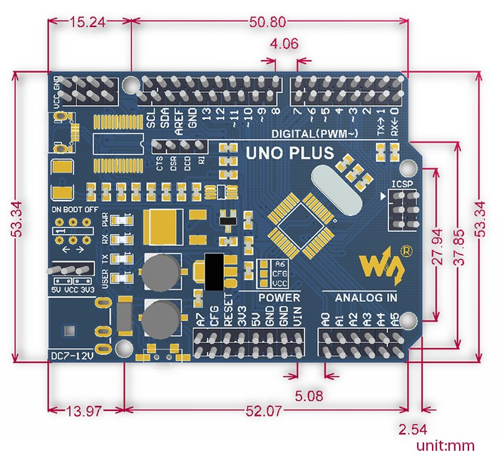UNO PLUS, továbbfejlesztett Arduino-kompatibilis UNO