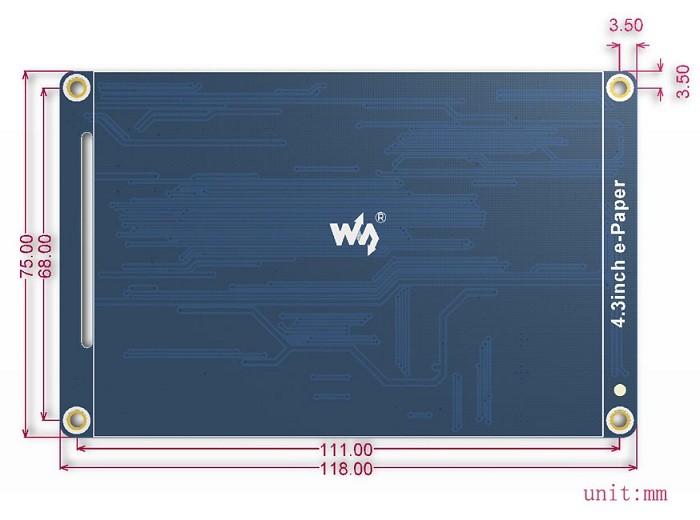 4.3 inch 800x600 e-Paper kijelző - UART csatlakozással