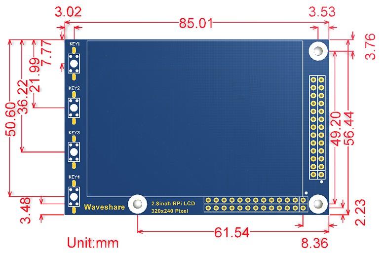 2.8 inch LCD, 320×240 Raspberry PI érintőkijelző 4 nyomógombbal