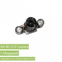 RPi Nappali és Éjszakai Kamera, 5MP OV5647 szenzor, GPIOról kapcsolható IR szűrő, állítható fókusz, dual IR reflektor