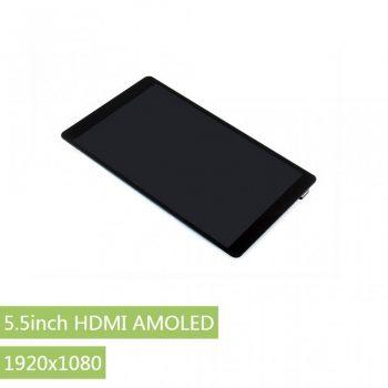5.5inch HDMI AMOLED Kapacitiv érintőkijelző, 1920x1080, karcálló üveggel Raspberry PI-hez