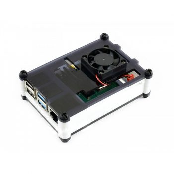 Akril ház Raspberry PI4-hez ventillátorral - Fekete/fehér