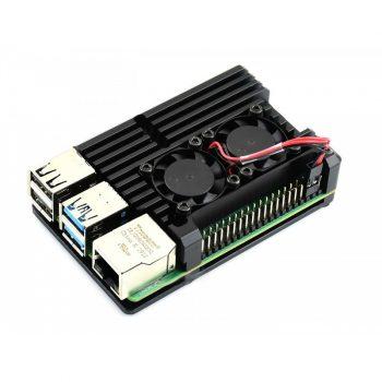 Aluminium hűtőborda ház dupla ventillátoros aktív hűtéssel Raspberry PI 4B-hez