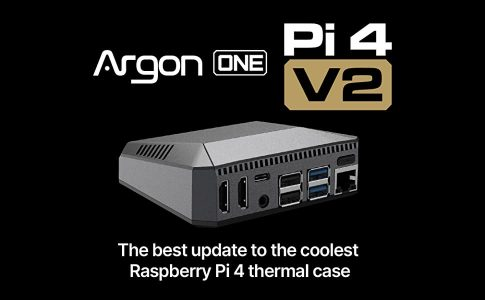 Argon ONE v2 - Prémium Aluminum ház Raspberry Pi 4-hez , biztonsági Ki- és Bekapcsoló gombbal, aktív hűtéssel, IR vevővel