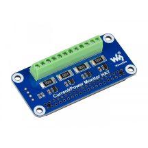 4 csatornás Áram/Feszültség/Teljesítmény monitorozó HAT modul Raspberry Pi-hez - I2C Interface DC 0-26V / 3.2A max