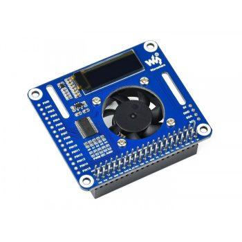 PWM vezérelt Ventillátor HAT modul Raspberry Pi-hez ,  I2C interfész, OLED kijelző, PCA9685 PWM vezérlő, Hőmérséklet monitorozás