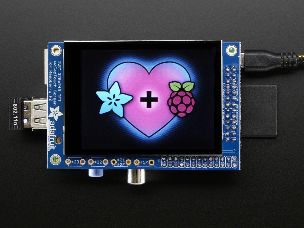 """Raspberry PI kijelző PiTFT 2.8"""" 320x240 TFT kapacitív érintőképernyővel"""