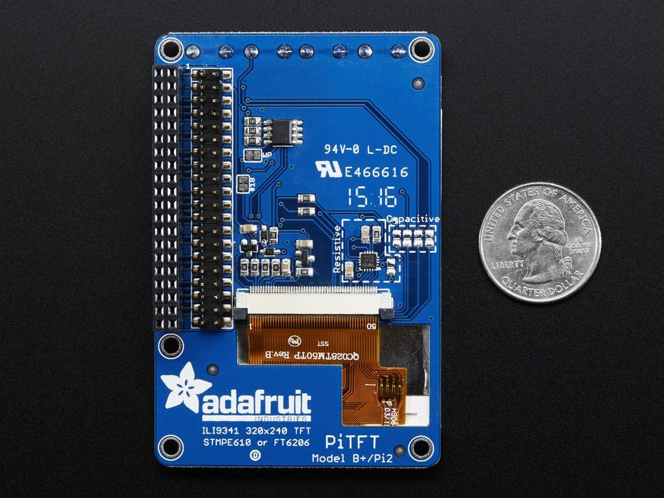 """PITFT Plusz kijelző - 320x240 2.8"""" TFT + rezisztív érintőpanel"""