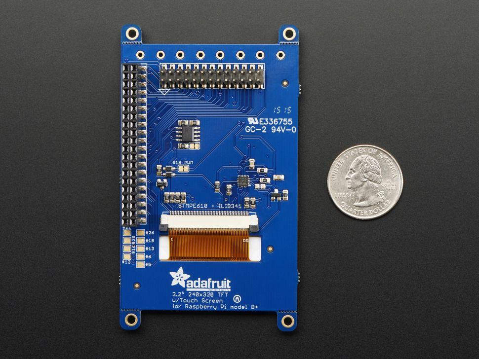 """Raspberry PI kijelző PITFT Plusz - 320x240 3.2"""" TFT + rezisztív érintőpanel"""