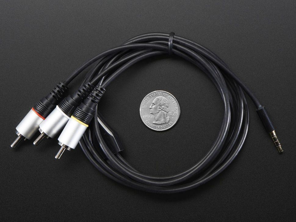 4 pólusú 3.5mm Jack - RCA Audio Video kábel Raspberry PI A+/B+/ PI2 / PI3 modellekhez
