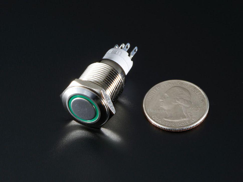 Fém nyomógomb világító zöld LED gyűrűvel - Vízálló