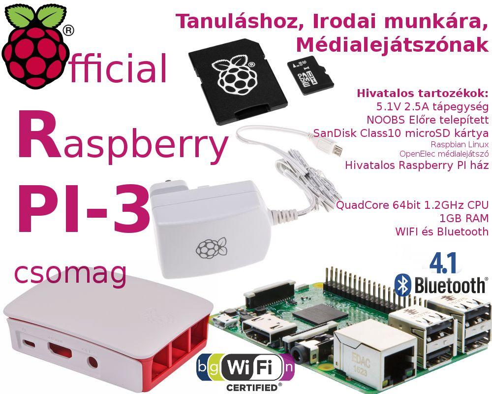 Raspberry PI 3 - Hivatalos csomag 8GB NOOBS