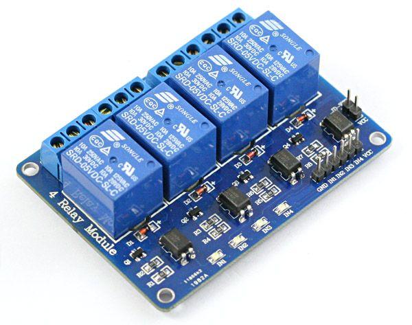 4 csatornás optocsatolós relémodul Raspberry PI-hez