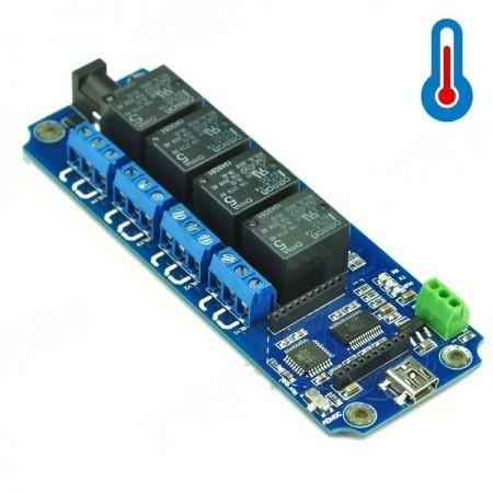 4 csatornás USB/Wireless 5V Relé Modul (DS18B20 hőmérő támogatással) - TOSR04-T