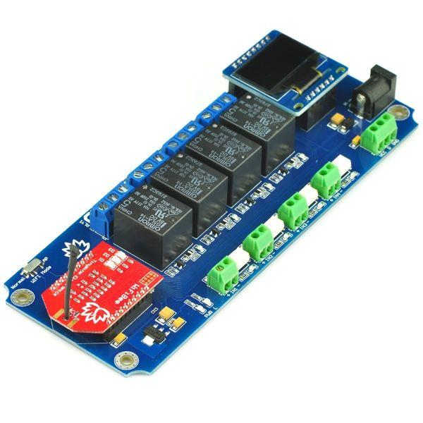 TSIR04 4 csatornás WIFI relémodul OLED kijelzővel DS18B20 támogatással - 4 kimenet + 4 optikailag leválasztott bemenet