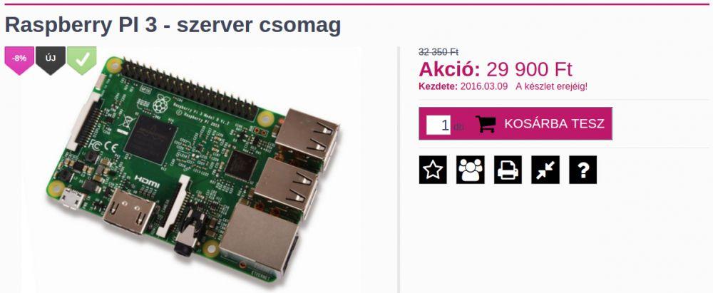 Raspberry PI 3 - szerver csomag - INGYENES kiszállítással